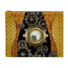 Steampunk Golden Design With Clocks And Gears Cosmetic Bag (xl)