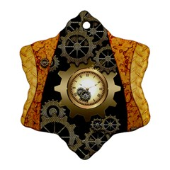Steampunk Golden Design With Clocks And Gears Snowflake Ornament (2 Side) by FantasyWorld7