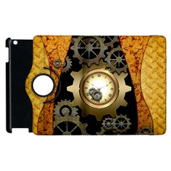 Steampunk Golden Design With Clocks And Gears Apple Ipad 3/4 Flip 360 Case by FantasyWorld7