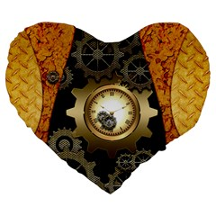 Steampunk Golden Design With Clocks And Gears Large 19  Premium Flano Heart Shape Cushions by FantasyWorld7