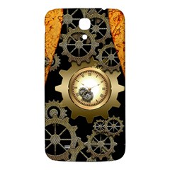 Steampunk Golden Design With Clocks And Gears Samsung Galaxy Mega I9200 Hardshell Back Case by FantasyWorld7