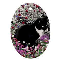 Freckles In Flowers Ii, Black White Tux Cat Ornament (oval)  by DianeClancy