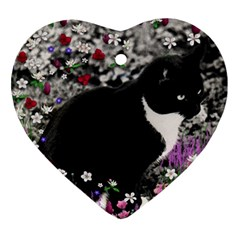 Freckles In Flowers Ii, Black White Tux Cat Ornament (heart)  by DianeClancy