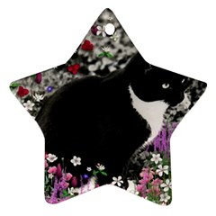 Freckles In Flowers Ii, Black White Tux Cat Ornament (star)  by DianeClancy