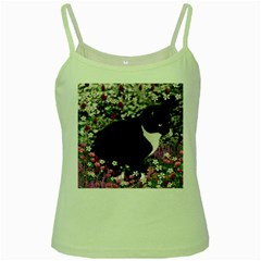 Freckles In Flowers Ii, Black White Tux Cat Green Spaghetti Tank by DianeClancy