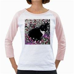 Freckles In Flowers Ii, Black White Tux Cat Girly Raglans by DianeClancy