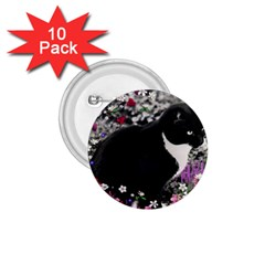 Freckles In Flowers Ii, Black White Tux Cat 1 75  Buttons (10 Pack) by DianeClancy