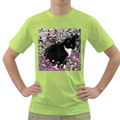 Freckles In Flowers Ii, Black White Tux Cat Green T Shirt by DianeClancy