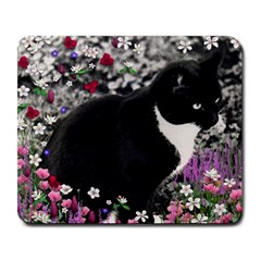 Freckles In Flowers Ii, Black White Tux Cat Large Mousepads by DianeClancy