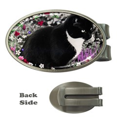 Freckles In Flowers Ii, Black White Tux Cat Money Clips (oval)  by DianeClancy