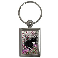 Freckles In Flowers Ii, Black White Tux Cat Key Chains (rectangle)  by DianeClancy