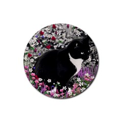 Freckles In Flowers Ii, Black White Tux Cat Rubber Round Coaster (4 Pack)  by DianeClancy