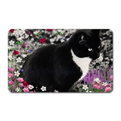 Freckles In Flowers Ii, Black White Tux Cat Magnet (rectangular) by DianeClancy