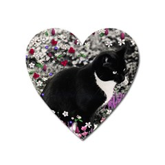 Freckles In Flowers Ii, Black White Tux Cat Heart Magnet by DianeClancy
