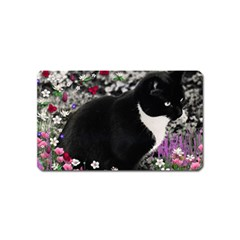 Freckles In Flowers Ii, Black White Tux Cat Magnet (name Card) by DianeClancy