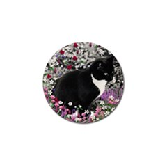 Freckles In Flowers Ii, Black White Tux Cat Golf Ball Marker by DianeClancy