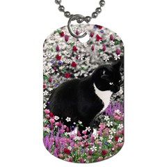 Freckles In Flowers Ii, Black White Tux Cat Dog Tag (two Sides) by DianeClancy