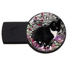 Freckles In Flowers Ii, Black White Tux Cat Usb Flash Drive Round (2 Gb)  by DianeClancy