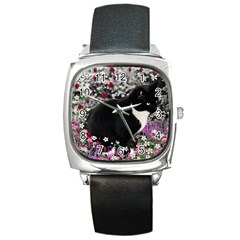 Freckles In Flowers Ii, Black White Tux Cat Square Metal Watch by DianeClancy