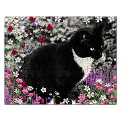 Freckles In Flowers Ii, Black White Tux Cat Rectangular Jigsaw Puzzl by DianeClancy