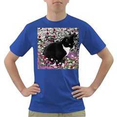 Freckles In Flowers Ii, Black White Tux Cat Dark T Shirt by DianeClancy