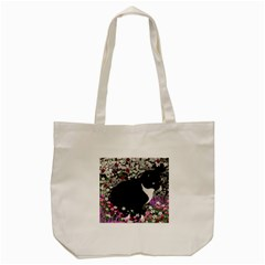 Freckles In Flowers Ii, Black White Tux Cat Tote Bag (cream) by DianeClancy