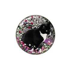 Freckles In Flowers Ii, Black White Tux Cat Hat Clip Ball Marker by DianeClancy