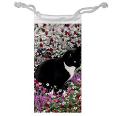 Freckles In Flowers Ii, Black White Tux Cat Jewelry Bags by DianeClancy