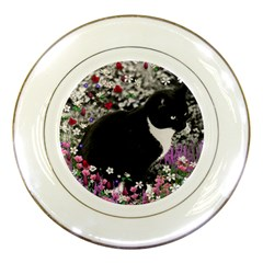 Freckles In Flowers Ii, Black White Tux Cat Porcelain Plates by DianeClancy