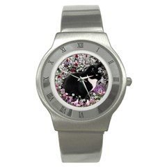 Freckles In Flowers Ii, Black White Tux Cat Stainless Steel Watch by DianeClancy