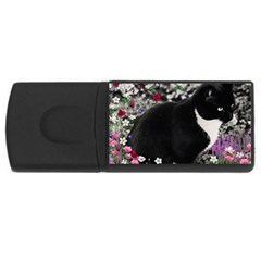 Freckles In Flowers Ii, Black White Tux Cat Usb Flash Drive Rectangular (4 Gb)  by DianeClancy