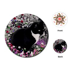 Freckles In Flowers Ii, Black White Tux Cat Playing Cards (round)  by DianeClancy