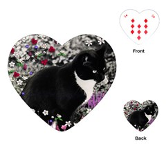 Freckles In Flowers Ii, Black White Tux Cat Playing Cards (heart)  by DianeClancy