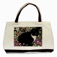 Freckles In Flowers Ii, Black White Tux Cat Basic Tote Bag by DianeClancy