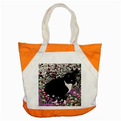 Freckles In Flowers Ii, Black White Tux Cat Accent Tote Bag by DianeClancy