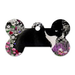 Freckles In Flowers Ii, Black White Tux Cat Dog Tag Bone (two Sides) by DianeClancy