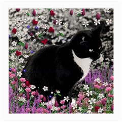 Freckles In Flowers Ii, Black White Tux Cat Medium Glasses Cloth by DianeClancy
