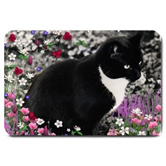 Freckles In Flowers Ii, Black White Tux Cat Large Doormat  by DianeClancy