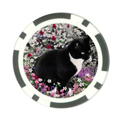 Freckles In Flowers Ii, Black White Tux Cat Poker Chip Card Guards by DianeClancy