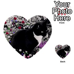 Freckles In Flowers Ii, Black White Tux Cat Multi Purpose Cards (heart)  by DianeClancy