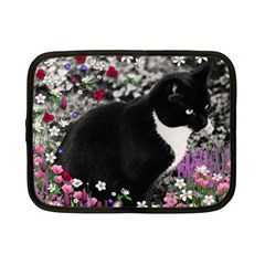 Freckles In Flowers Ii, Black White Tux Cat Netbook Case (small)  by DianeClancy