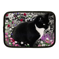 Freckles In Flowers Ii, Black White Tux Cat Netbook Case (medium)  by DianeClancy