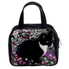 Freckles In Flowers Ii, Black White Tux Cat Classic Handbags (2 Sides) by DianeClancy