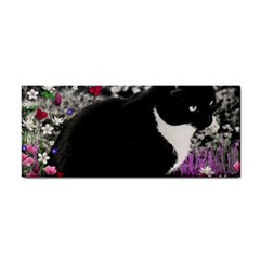 Freckles In Flowers Ii, Black White Tux Cat Hand Towel by DianeClancy