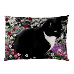 Freckles In Flowers Ii, Black White Tux Cat Pillow Case by DianeClancy