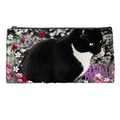 Freckles In Flowers Ii, Black White Tux Cat Pencil Cases by DianeClancy