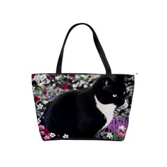 Freckles In Flowers Ii, Black White Tux Cat Shoulder Handbags by DianeClancy