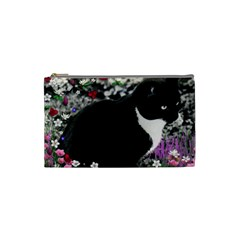 Freckles In Flowers Ii, Black White Tux Cat Cosmetic Bag (small)  by DianeClancy