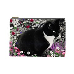 Freckles In Flowers Ii, Black White Tux Cat Cosmetic Bag (large)  by DianeClancy