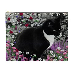 Freckles In Flowers Ii, Black White Tux Cat Cosmetic Bag (xl) by DianeClancy